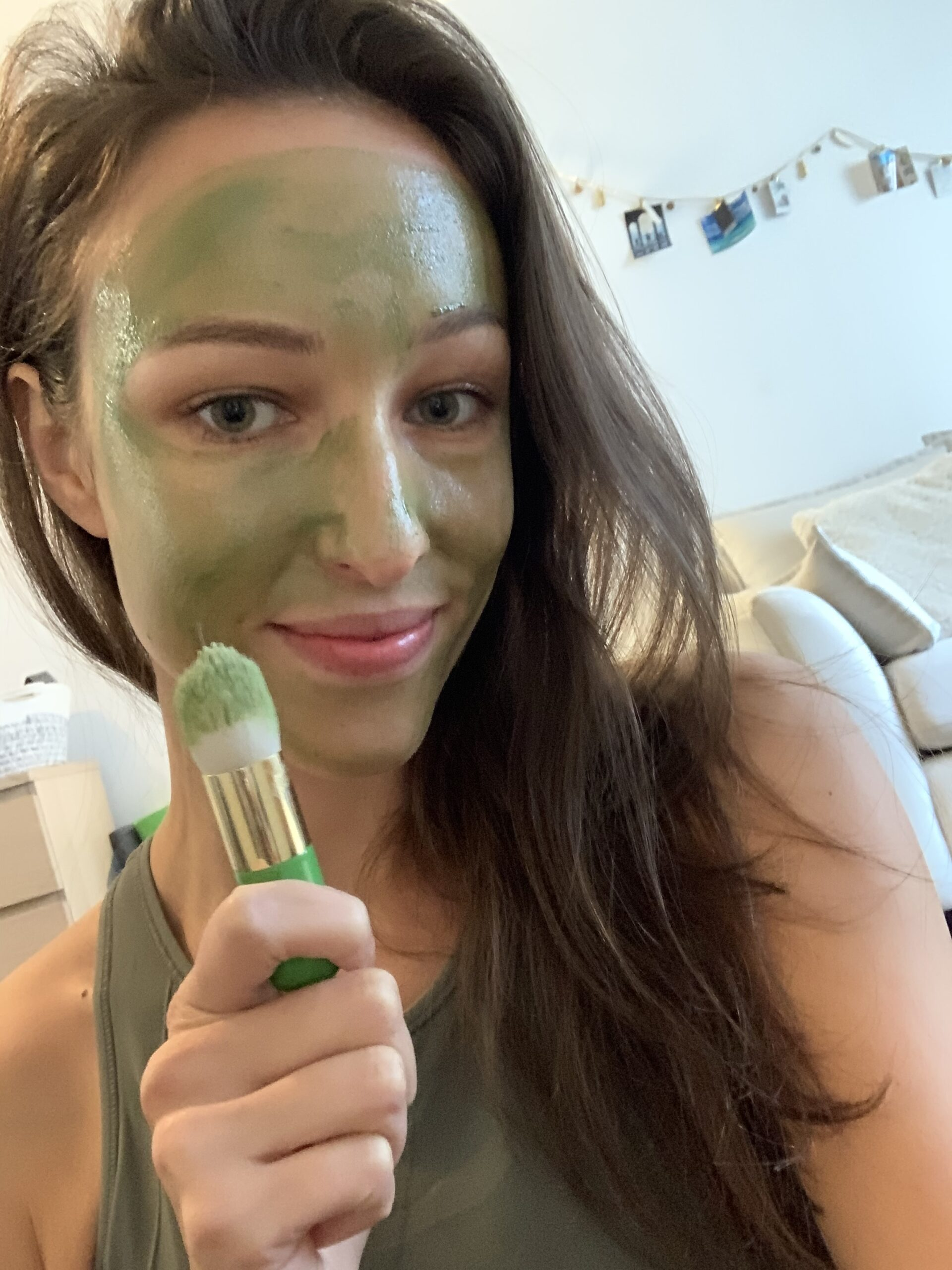 Our Aesthetician and Tata Harper Emmanuelle wearing the Clarifying Face Mask by Tata Harper.
