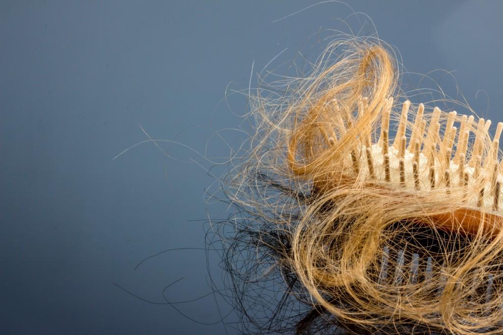 Eine Haarbürste mit Haeren. Beginn von Haarausfall und Alopezie